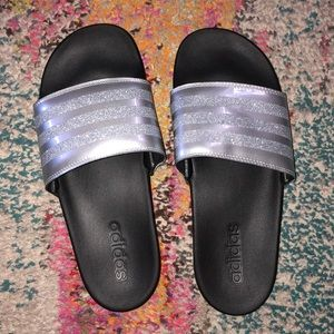 Adidas slip on slippers (black & silver) size US8
